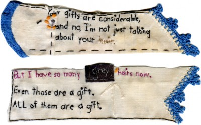 """Gifts""  Embroidery with hair and   thread on antique textile 3"" x 5""  2012"