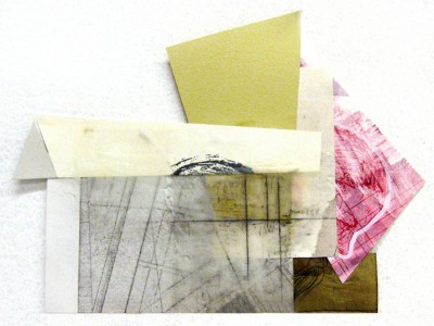 "Untitled 7"" x 9.5""  Intaglio, silkscreen, cut paper and encaustic 2012"