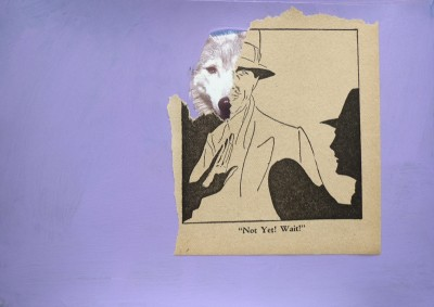 "Wait! from A Wolf Is Not Always A Wolf series Acrylic on found book page with vintage comic  4"" x 6""  2011"
